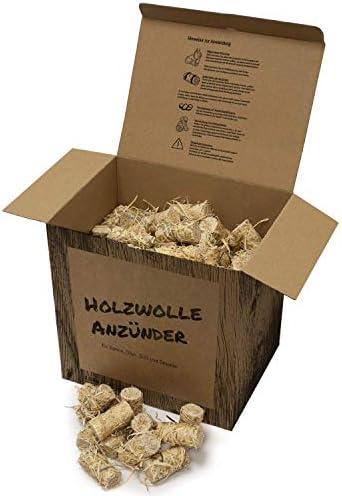 Tendens 2 kg Premium Bio Anzünder Kaminanzünder Grillanzünder aus Holzwolle mit Wachs - Ofenanzünder, Feueranzünder, Anzündhilfe, Anzündwolle aus Holz - ökologisch; nachhaltig; vegan