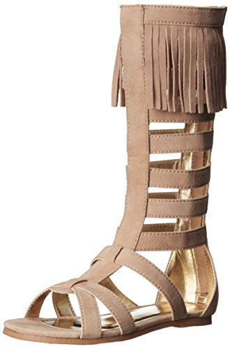 Kenneth Cole REACTION Audrey Tall Fringe Gladiator Sandal (Little Kid/Big Kid), Tan, 6 M US Big - Tall Fringe