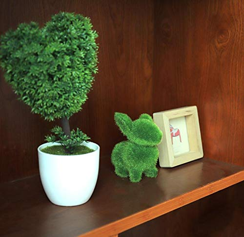 Oiisun Cute Animal Shape Simulation Green Grass Ornaments Emulational Green Plant Bonsai Grass Animal Decoration Home Decal 4 Types