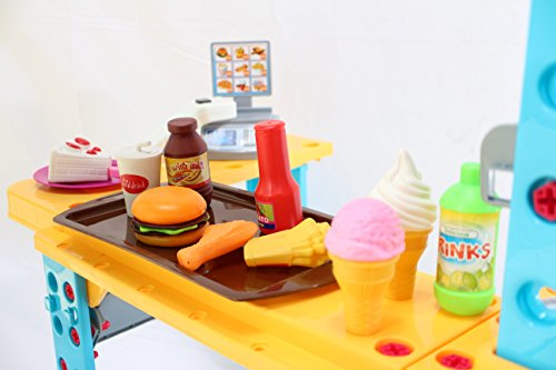 Shop Play Food - NBD Kids Fast Food Shop Checkout Counter, 93-Piece Toy Set