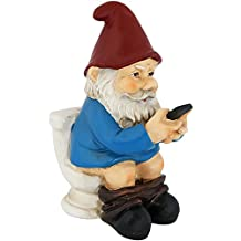 Cody the Garden Gnome Reading Phone on the Throne, 9.5 Inch Tall by Sunnydaze Decor