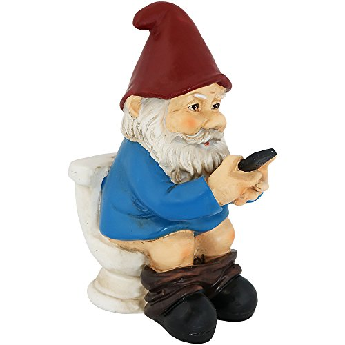 (Sunnydaze Cody The Garden Gnome on The Throne Reading Phone, Funny Lawn Decoration, 9.5 Inch Tall)