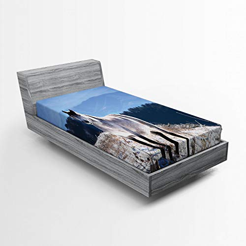 Lunarable Horses Fitted Sheet, Horse on Snowy Mountains Noble Body Wild Animals in Wilderness of Human Nature, Bed Cover with All-Round Elastic Deep Pocket for Comfort, Twin Size, White Green Blue