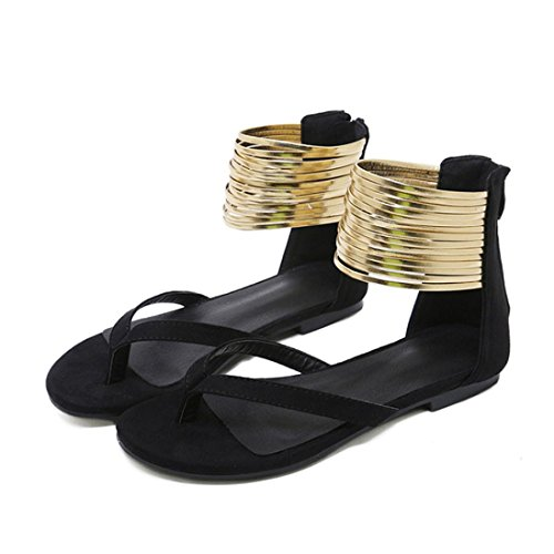 C de Punta ASHOP Redonda Zapatillas de Transpirable Playa Cuero Sandalias Chanclas Mujer Moda Bailarinas y Verano Zapatos Planas Sandalias Cordones Bohemia Las De vvBwWqRg