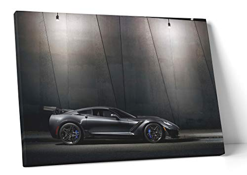Selene Sports Car Canvas Wall Art - 20x30 Inch Home Decor Wall Picture (Corvette C7 ZR1)