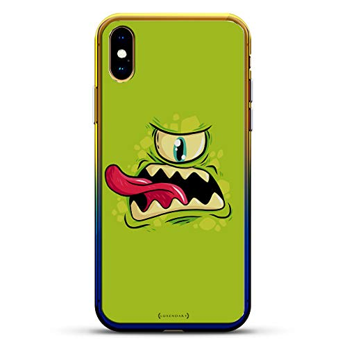 Series 1 Rise - FANTASY: Green One-Eyed Monster Tongue Sticking Out   Luxendary Gradient Series Clear Ultra Thin Silicone Case for iPhone Xs Max (6.5