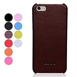Solid Color Lichee Pattern PU Leather Hard Case for iPhone 5/5S (Assorted Colors) --- COLOR:Rose