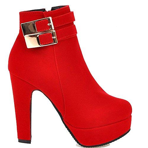 ENMAYER Womens Fashion Nubuck High Platform Heels Solid Ankle Boots Red rJXsfwW
