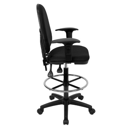 Flash Furniture Mid-Back Black Fabric Multifunction Drafting Chair with Adjustable Lumbar Support and Adjustable Arms