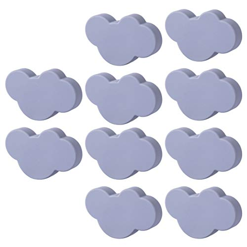 WOLFBUSH Soft Rubber Knobs 10Pcs Cartoon Cloud Shape Cabinet Knobs Silicone Door Knobs Cute Knobs for Cabinets,Doors, Dresser, Kitchen Cabinets and Cupboards - Grey