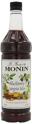 Monin Flavored Syrup, Blackberry Sangria, 33.8-Ounce Plastic Bottles (Pack of 4)