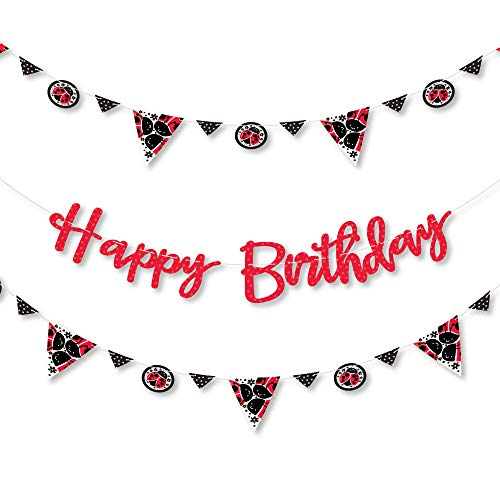 (Big Dot of Happiness Happy Little Ladybug - Birthday Party Letter Banner Decoration - 36 Banner Cutouts and Happy Birthday Banner Letters )