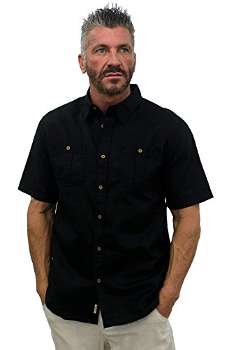 L8042 Short Sleeve Linen Shirt Size Large Black ()
