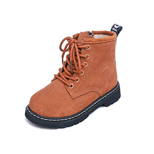 CHENSF Baby Autumn Martin Boots Fashion Suede Leather Lace-up Boots Soft Flat Ankle(Bronze1 EU 36/4 M US Big Kid)