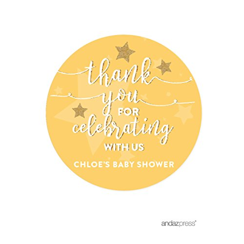 Andaz Press Twinkle Twinkle Little Star Yellow Baby Shower Collection, Personalized Round Circle Label Stickers, Thank You for Celebrating With Us, 40-Pack, Madison's Baby Shower Custom Name by Andaz Press
