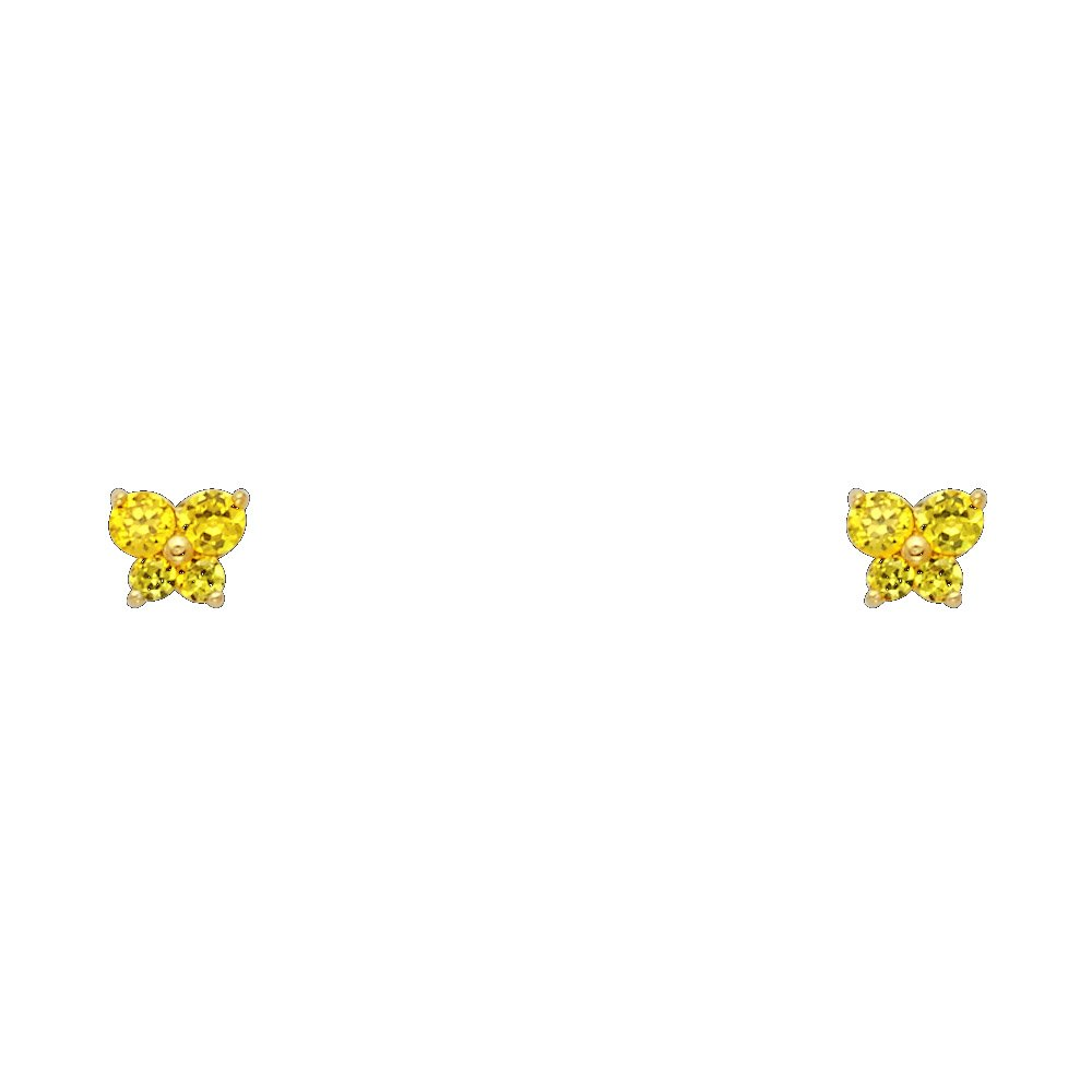 12 Different Color Available 14k Yellow Gold Butterfly Stud Earrings with Screw Back