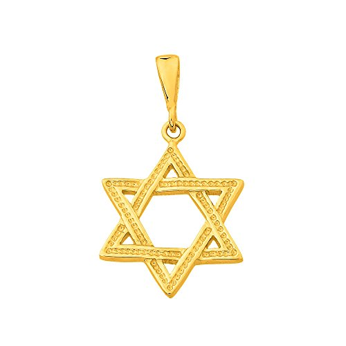 (14k Yellow Gold Jewish Star of David Charm Pendant)