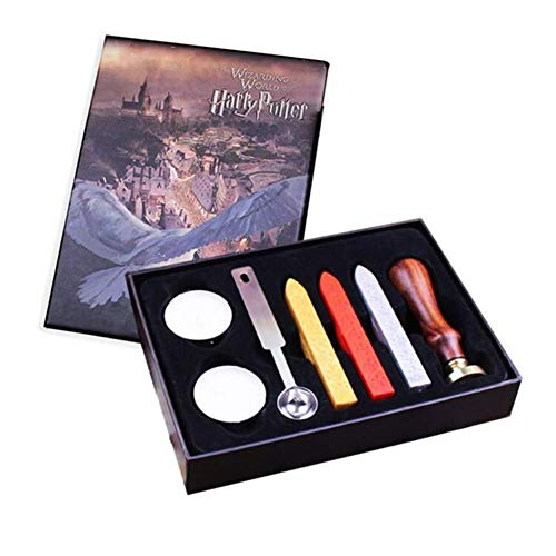 Unique Vintage Sealing Wax Stamp Kit with Spoon Wax Seal Wooden Stamp Initial Letters HP of Stamp Retro Stamps Maker Gift Box Set Halloween Christmas Birthday Gift for Kids or Friends -