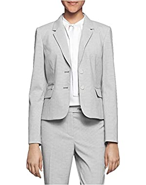 Calvin Klein Petite Two-Button Houndstooth Jacket Gray Size 12P