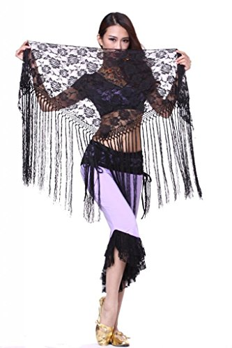 ZLTdream Women's Belly Dance Long Tassels Lace Triangle Hip Scarf Black
