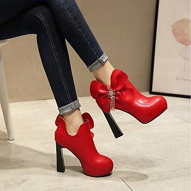 Bootie Rot Strass Chunky Booties Kunstleder Reißverschluss für Round Stiefel Rot Toe Winter Stiefeletten Damenschuhe Abendkleid Party Heel qIEwZwv