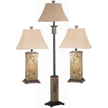 Kenroy Home Bennington 3-Piece Lamp Set with Natural-Slate Finish ...