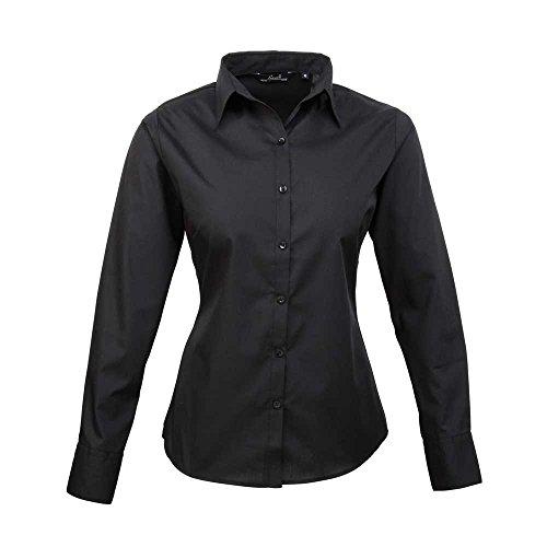 Premier Womens Poplin Long Sleeve Formal Work Blouse Shirt Black*