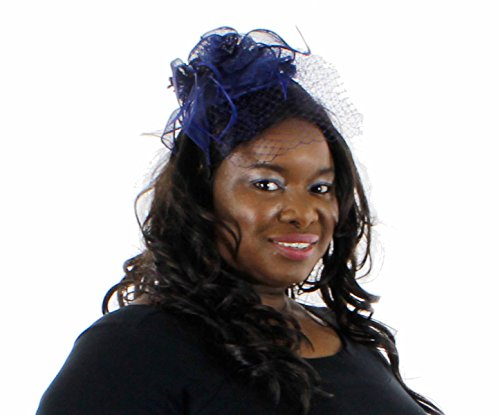 Charisma Sinamay Fascinator Cocktail Hat with Netting, Navy - Of Charisma Headband