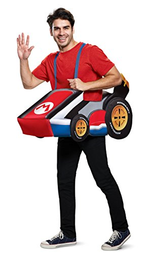 Disguise Men's Mario Kart Adult Costume, red, One Size -