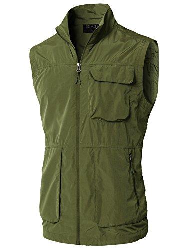 (H2H Men's Fishing Vest Multi Pockets Plus Size Photography Outdoor Climbing Causual Tactical Multi Use Vest Khaki US XL/Asia 2XL (KMOV0157))