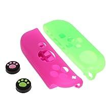 Homyl For Nintendo Switch Joy-con Silicon Cover Protective Skin + Thumb Grip Joystick Cap 2x Oil Spray Surface Design