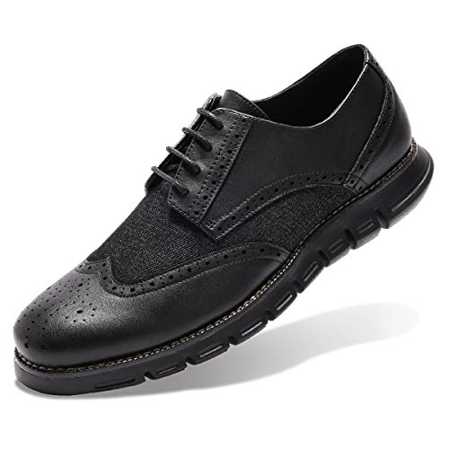 (Men's Oxford Sneaker Dress Shoes-Stylish Wingtip Brogue Oxfords Casual Shoes Work Gifts Black 8.5)
