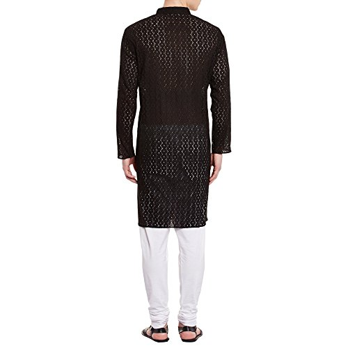 ShalinIndia Mens Embroidered Cutwork Cotton Kurta With Churidar Pajama Trousers Machine Embroidery,Black Chest Size: 40 Inch by ShalinIndia (Image #1)