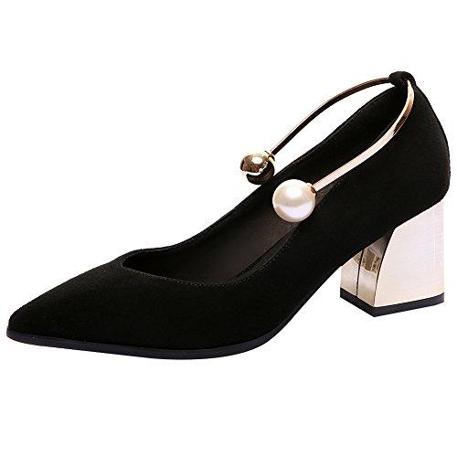 rismart Women's Block Kitten High Heels Pointed Toe Suede Leather Pumps Shoes SN02725(Black,us7.5) by rismart