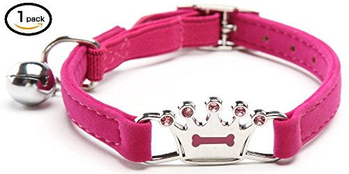 Crown Dog Tag Necklace - UNIGLOW PETS. Pet Charms. Pet Jewelry. Cat And Dog Collars, Pendants, Necklaces. Puppy Collar Accessories. Nickel-plated Hardware Bells. Bone Shaped PET TAGS. Pet Collar. (PINK, CROWN COLLAR)