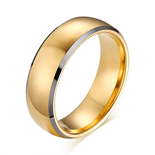 Gold High Polished Domed Ring (Men's Classic High Polished Two Tone Tungsten Carbide 8mm Dome Wedding Engagement Band Ring Comfort Fit)