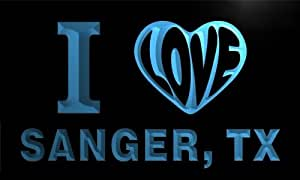 v67542-b I Love SANGER, TX TEXAS City Limit Neon Light Sign
