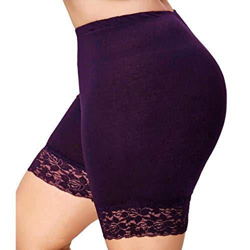 Plus Size Womens Mid Waist Lace Hot Shorts Elastic Sports Pants Tight Leggings -
