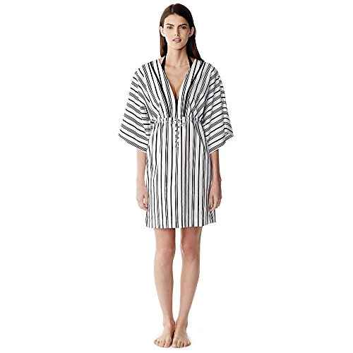 Canvas by Lands' End Women's Cotton Silk Caftan Cover-up, L, Black Galaxy Stripe