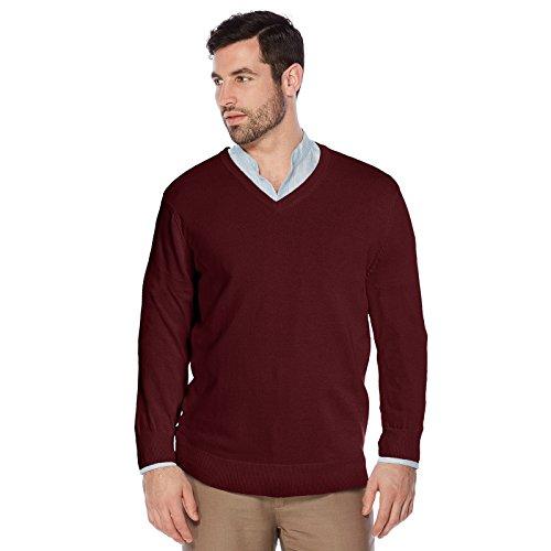 Berlioni Italy Men's Slim Fit Microfiber V-Neck Dress Pullover Sweater (Small, Burgundy) (Microfiber V-neck)