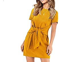 Longwu Women's Loose Casual Front Tie Short Sleeve Bandage Party Dress