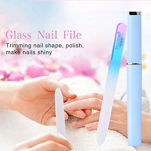 Professional Crystal Glass Nail Files Buffer Manicure Device Nail Art Decorations Tool Sanding Buffer Block Pedicure Nail Tools Pink