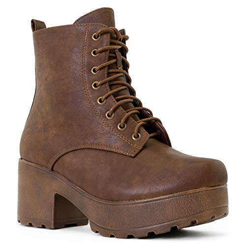 - RF ROOM OF FASHION Women's Lace up Round Toe Light Weight Stacked Heel Platform Side Zipper Ankle Booties Boots Tan PU (9)