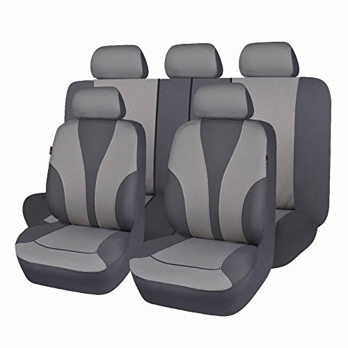 Banner Cover (Flying Banner Gray Cloth Fabric Universal Car Seat Covers Set Airbag with Vest Design)