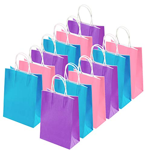 Coobey 20 Pieces Kraft Paper Bags Party Favor Bags Craft Paper Bags with Handle for Birthday, Baby Shower, Wedding and Party Celebrations (Light Blue, Light Purple, Pink)