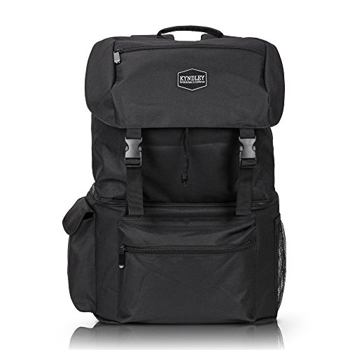 Backpack Racksack Shoulder Cooler Bag Insulated Leakproof Soft Lightweight Bag - Large Camping Men / Women - Hiking, Travel, Beach, Park or Day Trips, Fishing & Hunting With 2 Ice Coolers (Black) by Kyndley