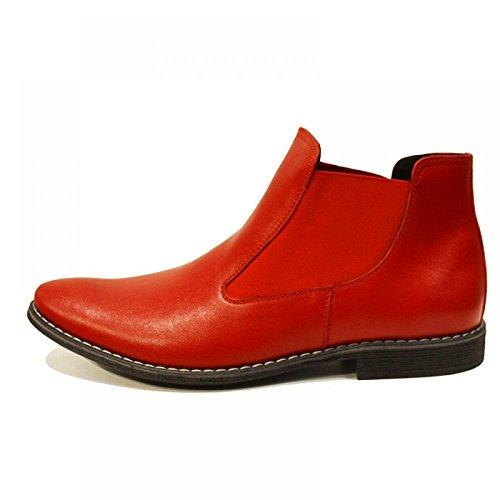 Modello Rosso - Handgemachtes Italienisch Leder Herren Rot Stiefeletten Chelsea Stiefel - Rindsleder Weiches Leder - Schlüpfen