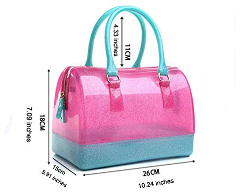 Beach Handbag Light Glitter Bag Clutch Bag Blu Silicone Pink Pink Jelly Hot qrYw1tr