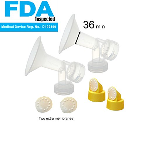 36 mm 2xOne-Piece Small Breastshield w/Valve and Membrane for Medela Breast Pumps; Replacement to Medela PersonalFit 36 Breastshield and Personal Fit Connector; Made by Maymom (36 mm (XX-Large))