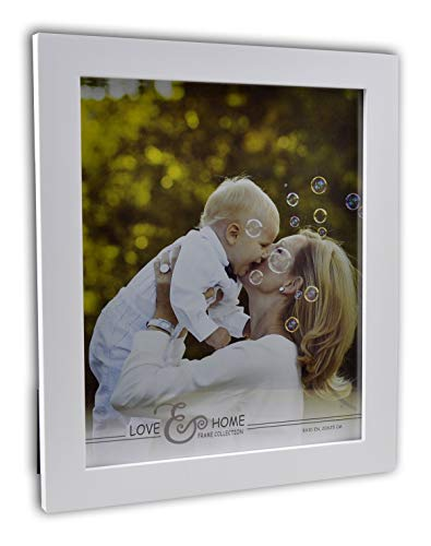 Spiretro 8 x 10 inch Flat Edge Molding, Solid Wood Picture Frame with Plexiglass, Vertically and Horizontally Display for Tabletop by Easel or Wall Hanging Photo Frame, Plain Liquid White